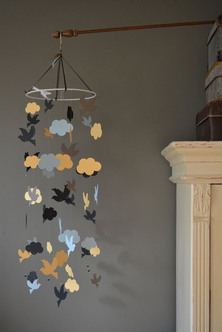 Bird mobile / nursery mobile / baby mobile made from black, pastel blue, safran yellow and grey card stock --- Handmade mobile or baby gift door SierGoed op Etsy
