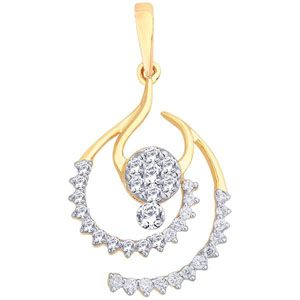 Design of this pendant is like drop of water. Center cluster setting of diamonds is giving pretty big look to diamond pendant from center. Single big stone is added to shape of the flower in center. Other 2 half circle – diamond studded hoop adds beauty to pendant & makes it look bigger.