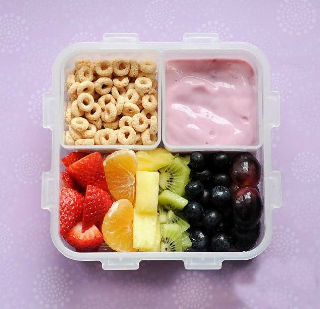 Use fruit, yogurt and cereal to make this healthy snack.