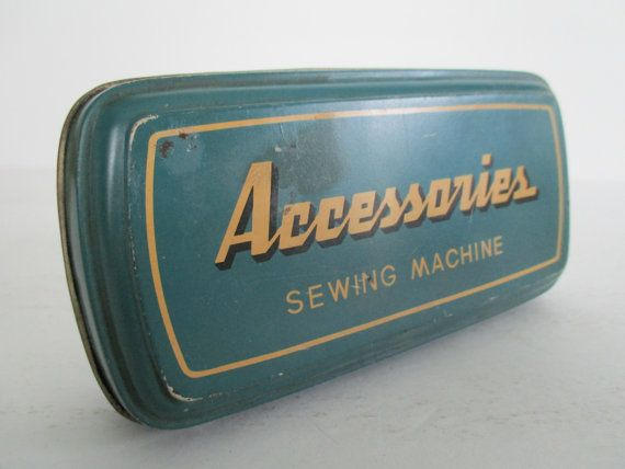 Vintage Blue Sewing Machine Accessories Box by Booth4755 on Etsy