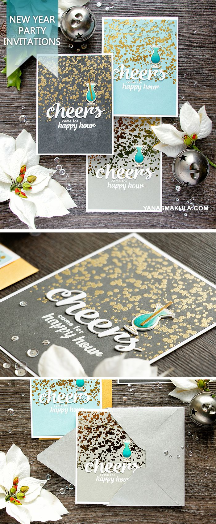 Create fantastic New Year's Eve Happy Hour Party Invitations with the help of Hero Arts December'16 My Monthly Hero Kit. For details and video tutorial, visit http://www.yanasmakula.com/?p=56196