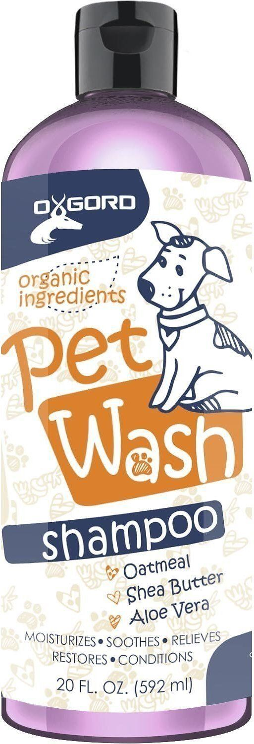 OxGord Pet Wash created a 100% all-natural and organic Oatmeal, Shea Butter & Aloe Vera Shampoo that's gentle and effective. Natural aloe, jojoba and coconut oils help moisturize dry, sensitive skin and even the most brittle coat. Made from vegan ingredients, this tearless soap-free shampoo is non-toxic and safe for you and your dog. OxGord's Oatmeal, Shea Butter & Aloe Vera Shampoo helps relieve painful and itchy skin caused by fleas, dander and dryness and leaves your dog's fur ...