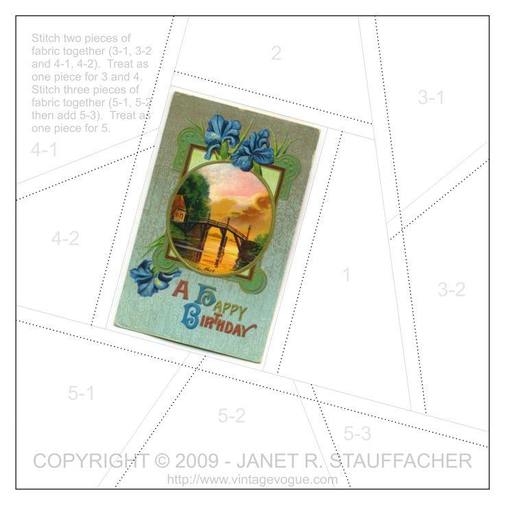 A Happy Birthday crazy quilt block pattern posted on Janet Stauffacher's Nostalgic NeedleART blog on 9/10/09.