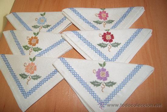 Servilletas bordadas en punto de cruz para boda - Imagui