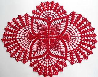 Horgolás minták: Piros terítő