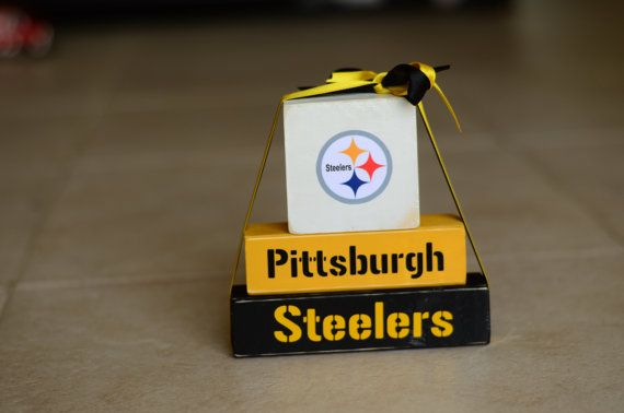 Steelers Football Wood Block Stack  Pittsburg by RutherfordWoods, $14.00