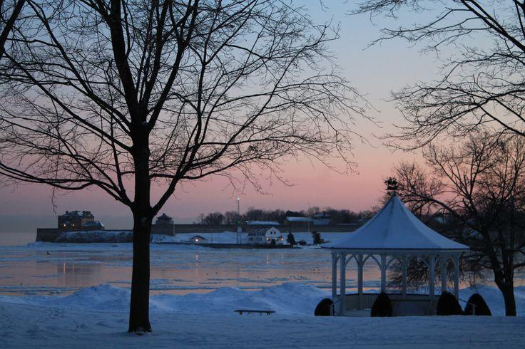 Gazebo and Fort Niagara early on a winter morning in Niagara on the Lake