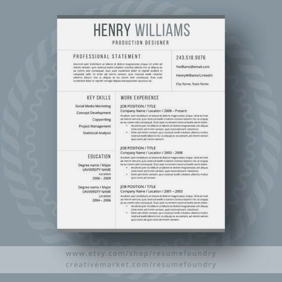 Resume Template For Mac PC Using Microsoft Word The Henry Instant Digital