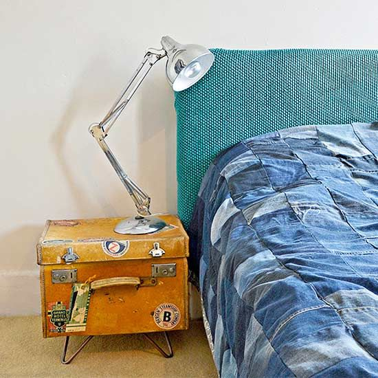 Showcase your wanderlust spirit by turning a vintage suitcase into a storage-friendly side table or nightstand.