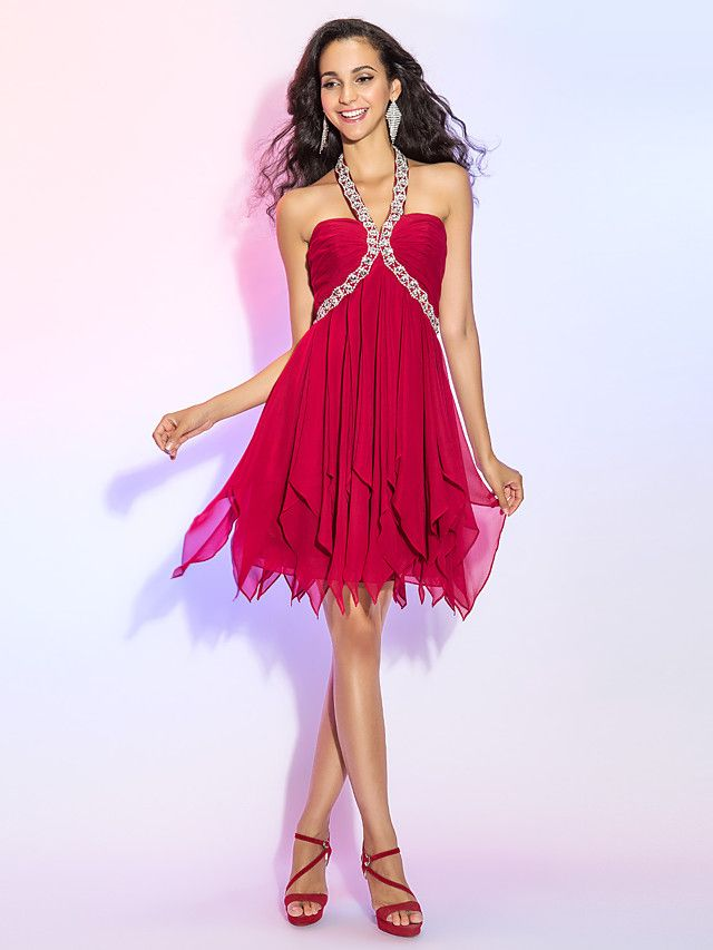 TS Couture® Cocktail Party / Homecoming / Prom Dress - Open Back Plus Size / Petite A-line / Princess Halter Short / Mini Chiffon with Crystal - USD $99.99