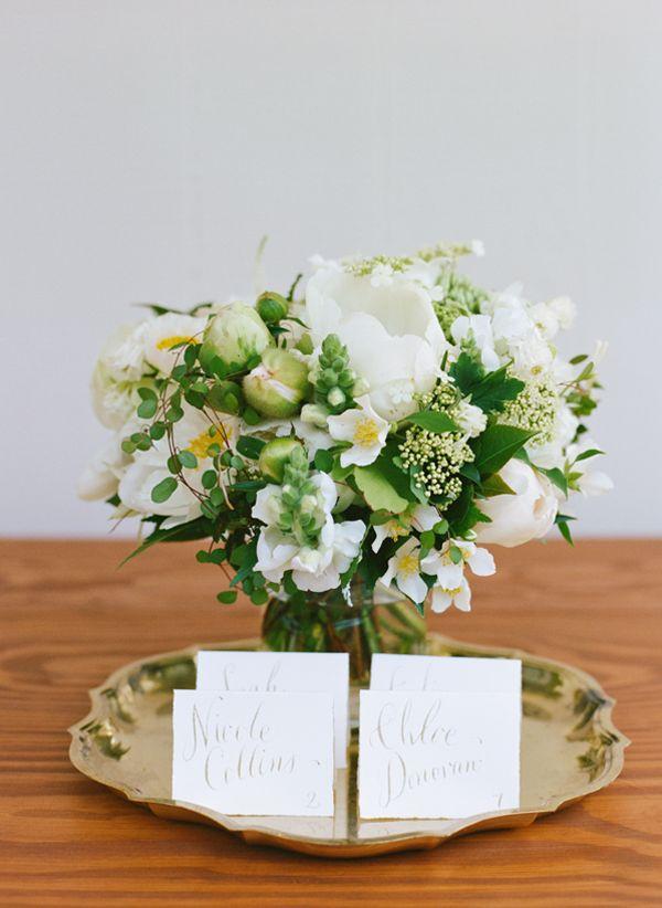 spring wedding escort card display