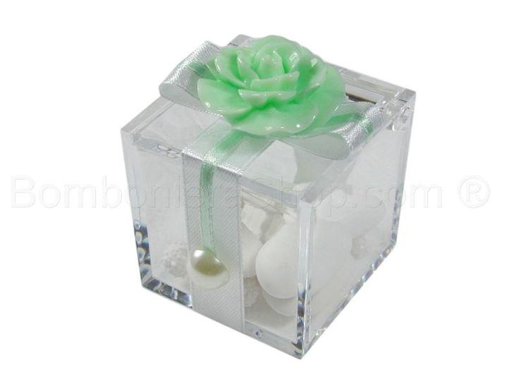 Cubo plexi con rosa colore verde acqua mare