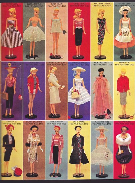 Barbie made her first appearance in 1959 and middle Boomer age range gals went nuts for the new fashion doll. Here's a page from the Barbie catalog for 1959.