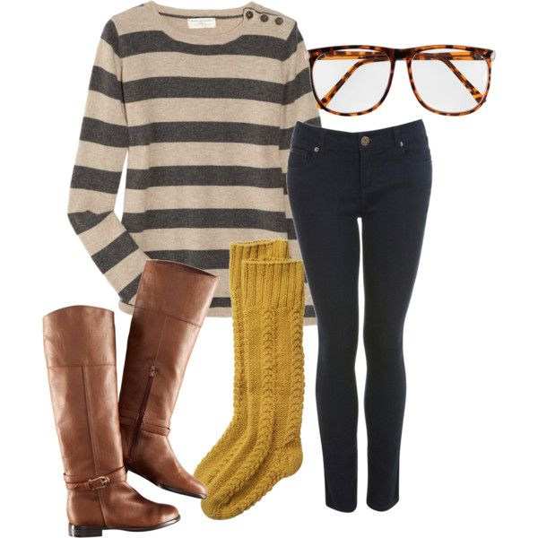LoveFashion, Glasses, Style, Student Outfit, Stripes Sweaters, Fall Outfits, Comfy Casual, Boots Socks, Mustard Yellow