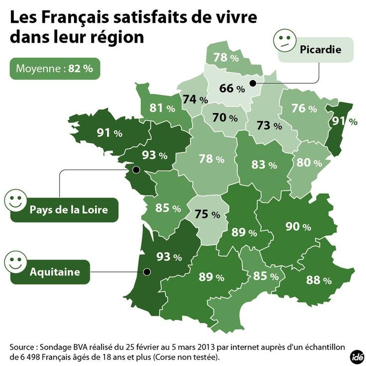 Cartographie du taux de satisfaction des habitants par région par rapport à leur qualité de vie.