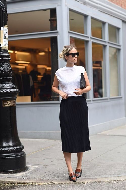 Skirt + flats #white #black #loafers #style