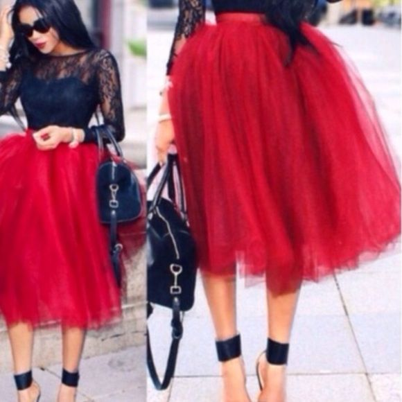 """GORGEOUS CUSTOM RED TULLE SKIRT!❤️ tulle Skirt is Lined & has 5 Layers. 27"""" waist. Skirts"""