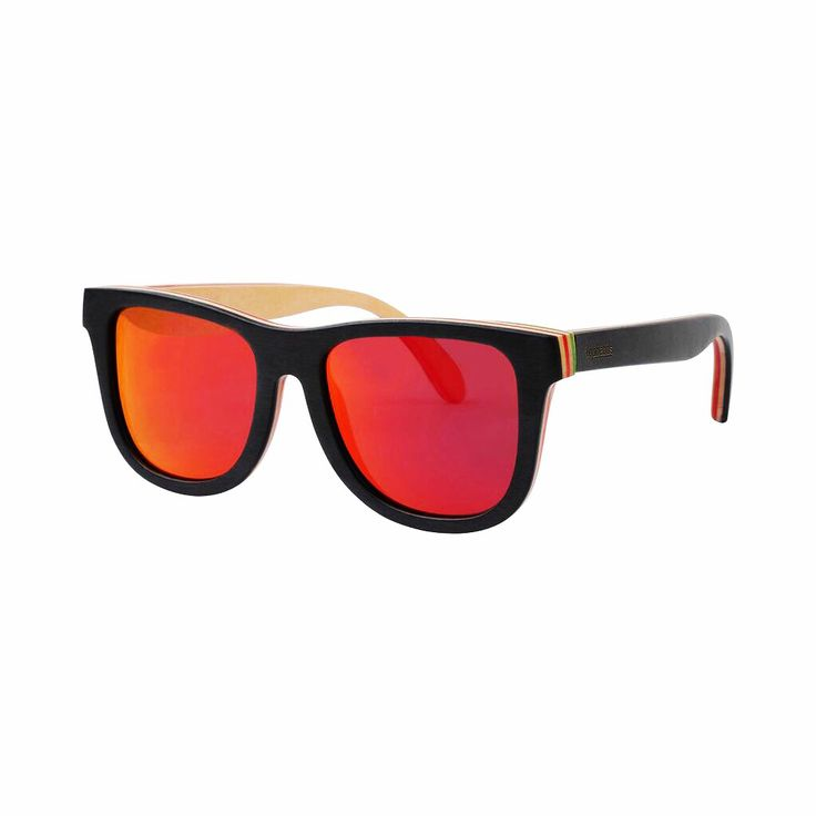 The Rosco with red polarised mirror lenses • Now available online at www.topheads.com.au #topheads #eyewear #recycled #skateboard #wood #sunglasses #bondi #beach #australia