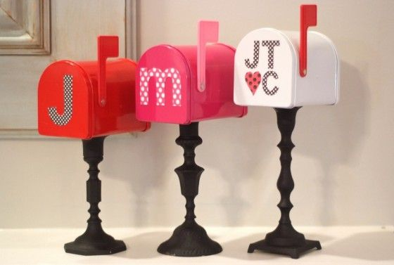 DIY Valentine Day Decor - mailboxes on candlesticks