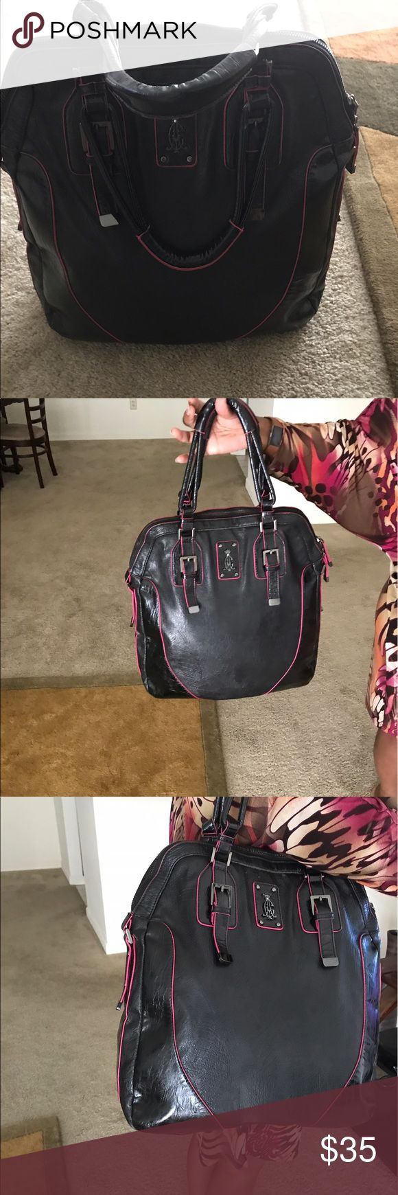 Christian Audigier Oversized Faux Leather Hand Bag Oversized Faux Leather by Christian Audigier   Bag is in good condition  there are scuffs outside of bag consistent with wear. Bag is very clean inside no stains or odor Christian Audigier Bags Shoulder Bags