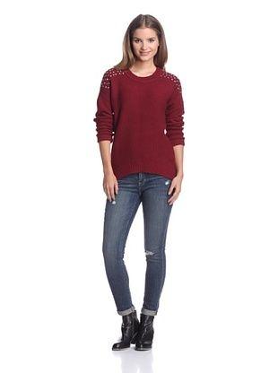 Dex Women's Split Hem Sweater with Studs