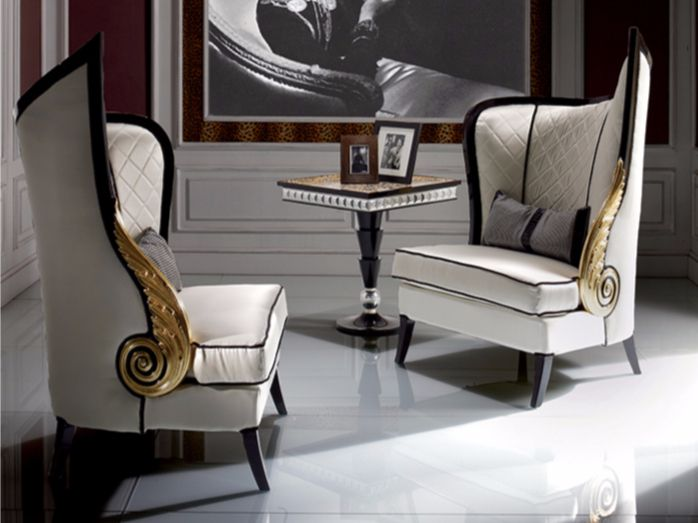 Upholstered high-back fabric armchair S92 | Armchair - Rozzoni Mobili d'Arte