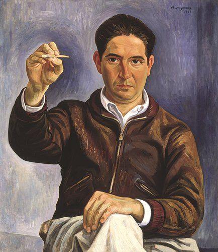 En la obra de Raúl Anguiano destacan su mirada y sus manos que parecen trazar una pintura. FOTO: Cortesía Smurfit Kappa