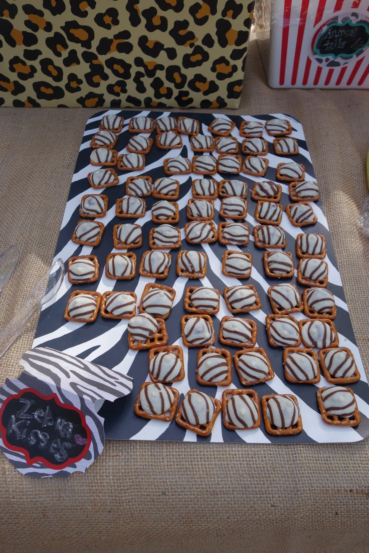 Drew's Zoo Party: Food- Zebra Kisses: Hershey Hugs melted onto Butter Snap pretzels