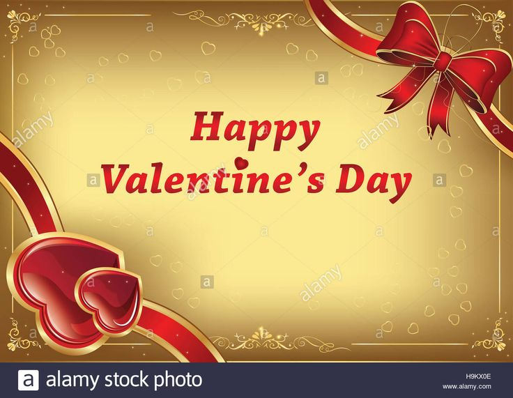 Download this stock image: Happy Valentine's Day background with hearts and ribbon. Print colors used; custom size of a print card. - H9KX0E from Alamy's library of millions of high resolution stock photos, illustrations and vectors.