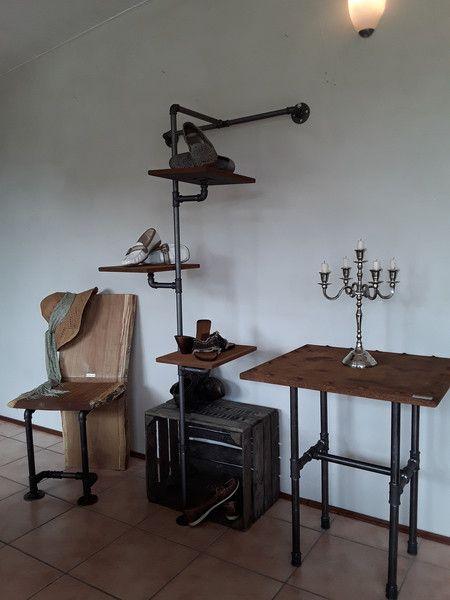 Schuhschränke - Schuhständer/Industrielook /Schuh Regal,Eisen,Holz - ein Designerstück von Kunstdesign-Dupre bei DaWanda