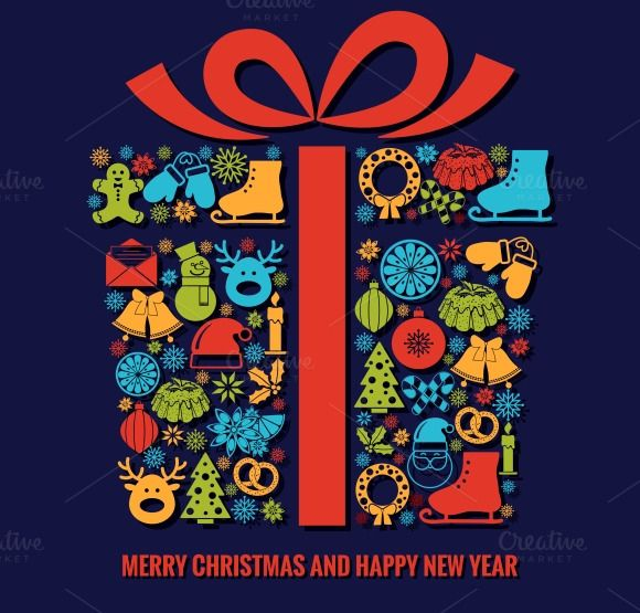 Christmas and New Year card template by Microvector on Creative Market