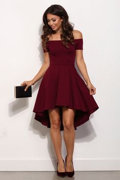 Formal Look: burgundy off-the-shoulder Fit & Flare dress. Style with black clutch and pumps. -Meghan H.