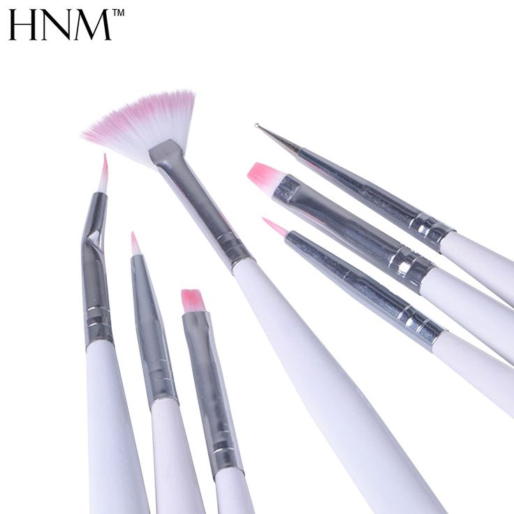 HNM 7Pcs New Nail Painting Brushes UV Gel Acrylic Nail Art Builder Manicure Brush Pen Dotting Painting Acrylic Nail Brush Set