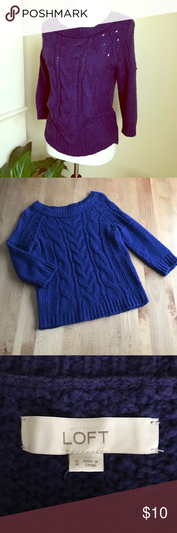 Anne Taylor Loft blue cable knit sweater Anne Taylor Loft super soft cable knit sweater with scoop neck and 3/4 sleeves in a deep blue color. Gently used. LOFT Sweaters Crew & Scoop Necks