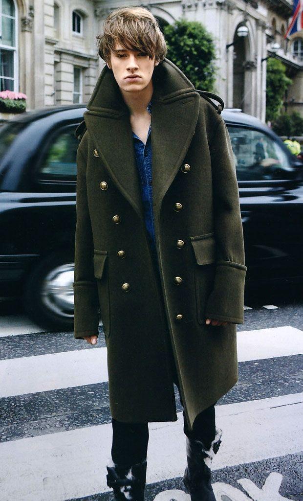Burberry greatcoat coat streetstyle fashion men Style