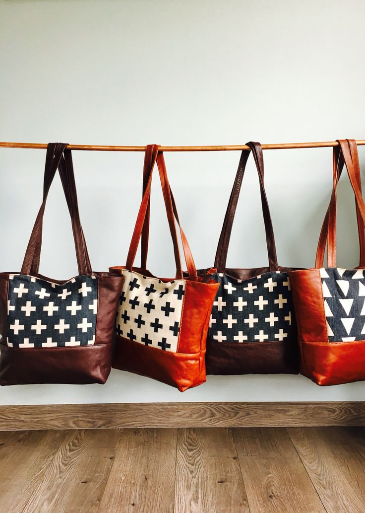 Genuine Leather & Linen Tote Bag.