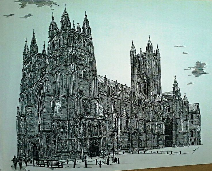 Canterbury Cathedral- United Kingdom Done in Black Rotring Ink Pen Size: A3 Available!