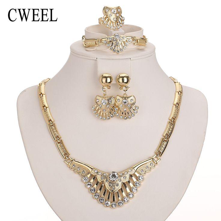 Cweel bruiloft accessoires nieuwe afrikaanse kralen sieraden sets voor vrouwen party vergulde geïmiteerd crystal hanger ketting oorbellen