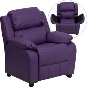 Flash Furniture Kids' Vinyl Recliner with Storage Arms, Multiple Colors