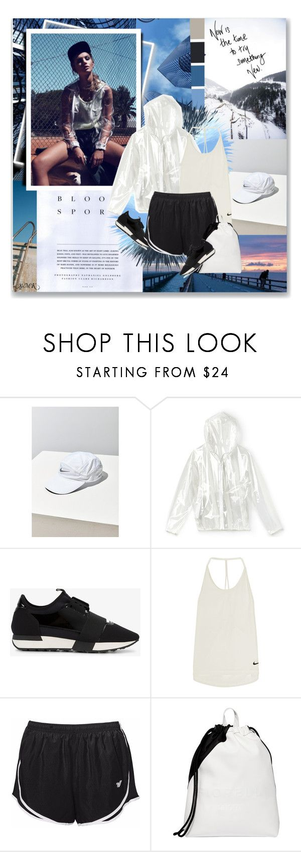 """""""Blood Sport."""" by lascaux ❤ liked on Polyvore featuring Zara TRF, NIKE, Lacoste, Balenciaga and Fiorelli"""