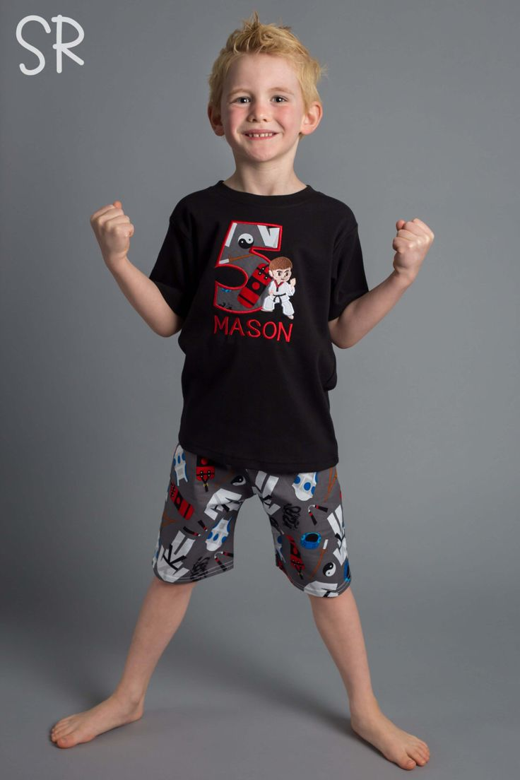 Boy Ninja Karate Birthday Shirt with Number and Matching Shorts by SunbeamRoad on Etsy https://www.etsy.com/listing/268501334/boy-ninja-karate-birthday-shirt-with