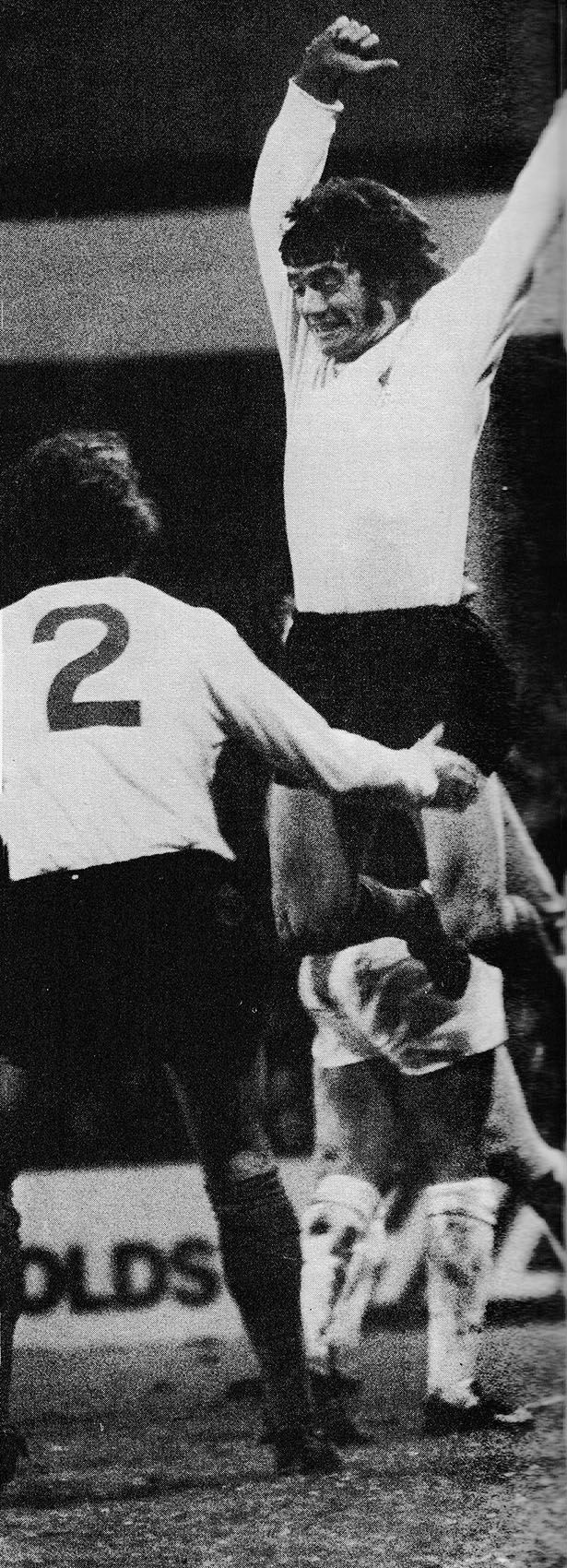 6th January 1973. Liverpool goal scorer Kevin Keegan celebrates with Chris Lawler after the hit and run victory over West Ham United, at Upton Park.