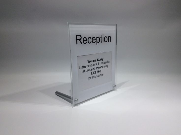 Reception Desk Sign Freestanding Desk Top Sign With Space