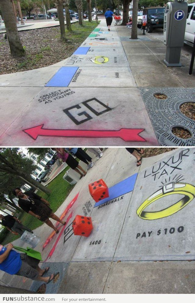 Monopoly Street - I wonder if there is The Game of Life like this somewhere! That'd be awesome