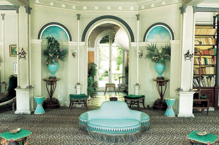 Leopard and turquoise, designer Madeleine Castaing's country house