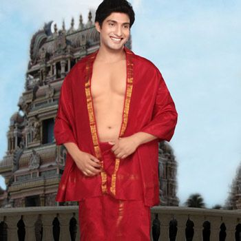 Bright Red Pure Silk Angavasthram with Dhoti