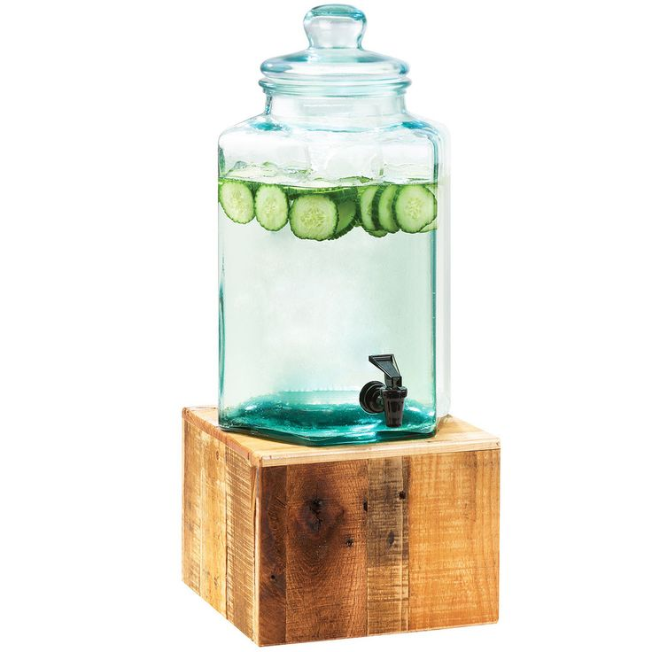 calmil 2 gallon vintage glass beverage dispenser with wooden base - Drink Dispensers