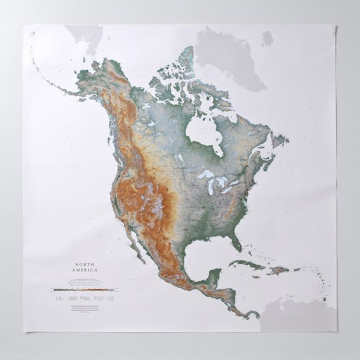 Topographic North America Wall Map 4000 230
