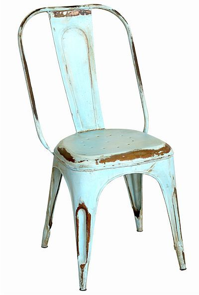 Distressed French style metal cafe chair  sc 1 st  Pinterest : metal cafe stools - islam-shia.org