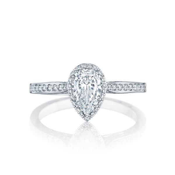 18 Karat White Gold Tacori Dantela Collection Semi-Mount Diamond Engagement Ring (Setting Only)